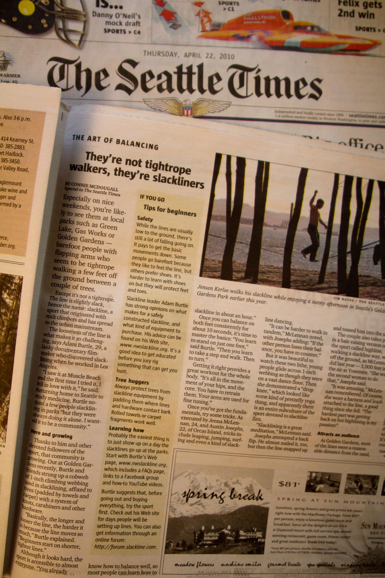 NWslackline in the Seattle Times